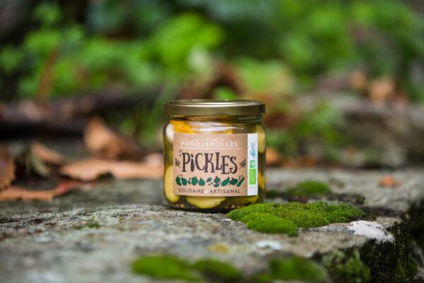 Pickles de bio de courgettes jardins de Porquerolles